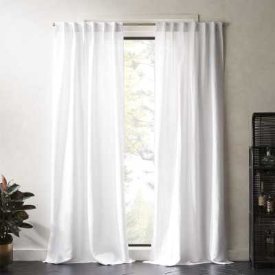 "Weekendr White Chambray Curtain Panel 48""x84"" - CB2"