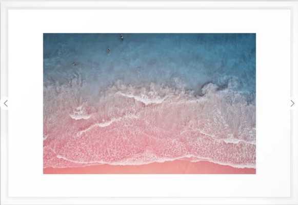 Bahamas pink blue Framed Art Print Framed Art Print - 26 x 38, Vector White - Society6