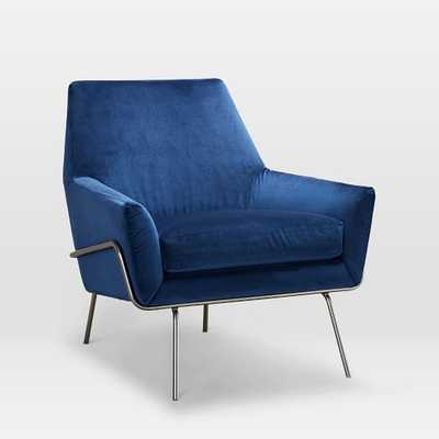 Lucas Wire Base Chair, Astor Velvet, Ink Blue - West Elm