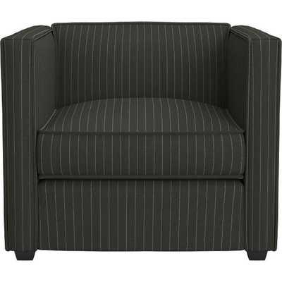 Club Tigre Luxe White Chair, Pinstripe Charcoal - CB2