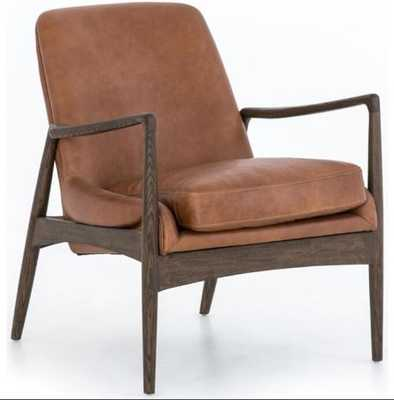 Braden Leather Chair, Brandy - High Fashion Home