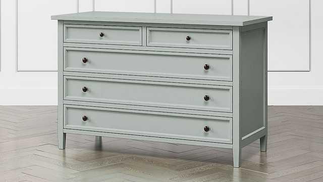 Harbor Blue Grey 5-Drawer Dresser - Crate and Barrel