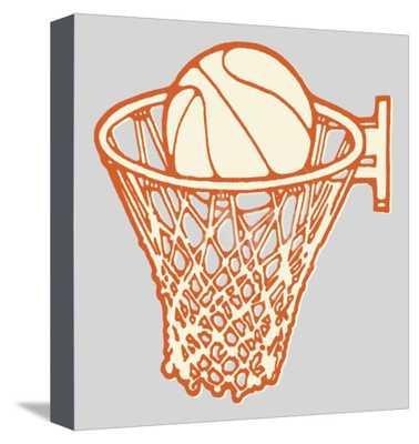 "Basketball and Hoop Canvas, 16""x16"" - art.com"