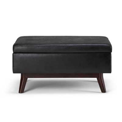 Hover Image to Zoom Owen 34 in. Mid Century Modern Storage Ottoman in Distressed Black Faux Air Leather - Home Depot