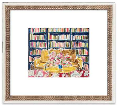Library with Flowers, framed art print, with mat - Artfully Walls