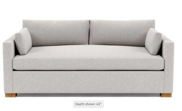 Charly Sofa with Beige Pebble Fabric, standard down blend cushions, and Natural Oak legs - Interior Define