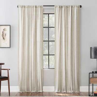 "Senita Slub Texture Cotton Striped Sheer Rod Pocket Single Curtain Panel - 96"" - Wayfair"