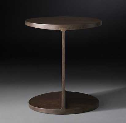 I-BEAM WOOD ROUND SIDE TABLE - RH Modern
