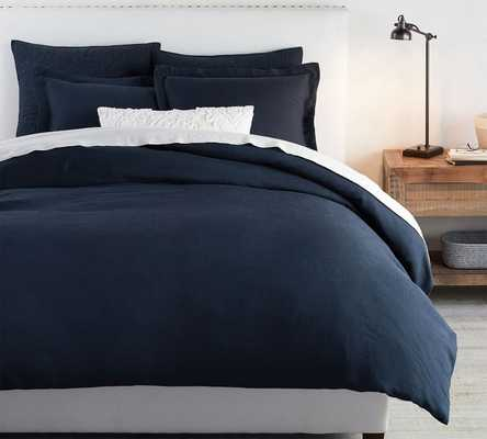 Belgian Flax Linen Duvet Cover, Full/Queen, Midnight - Pottery Barn
