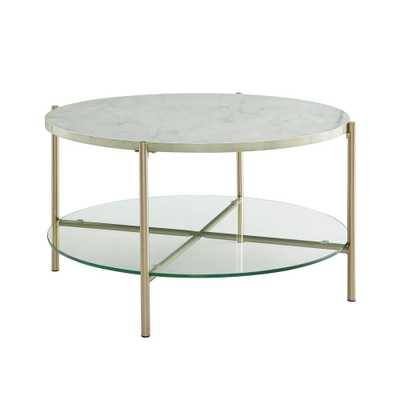 32 in. White Marble Top Glass Shelf Gold Legs Round Coffee Table, Faux Marble/Gold - Home Depot