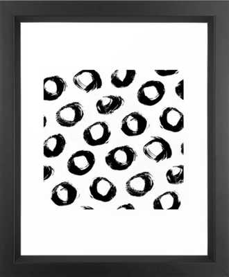 Brushed Dots Black and White Framed Art Print (vector black) - Society6