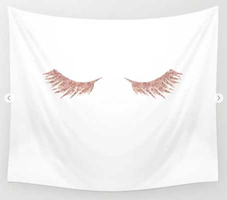 Pretty Lashes Rose Gold Glitter Pink Wall Tapestry - Society6