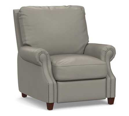 James Leather Recliner, Down Blend Wrapped Cushions, Burnished Bourbon - Pottery Barn