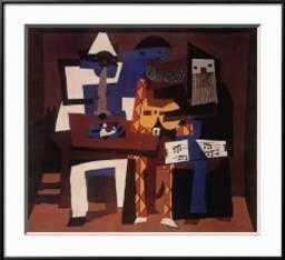 """Three Musicians, c.1921 By Pablo Picasso- 28"""" x 22"""" - Frame Ronda Black - art.com"""