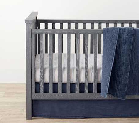Reed Velvet Cotton Toddler Quilt, Navy - Pottery Barn Kids
