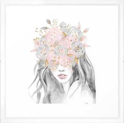 She Wore Flowers in Her Hair Rose Gold by Nature Magick Framed Art Print - Society6