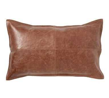 "Pieced Leather Lumbar Pillow Cover, 16x26"", Whiskey - Pottery Barn"