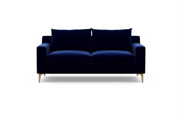 Sloan Sofa in Oxford Blue Fabric with Brass Plated legs - Interior Define