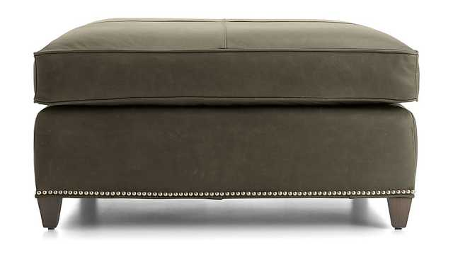 Dryden Leather Square Cocktail Ottoman with Nailheads - Crate and Barrel