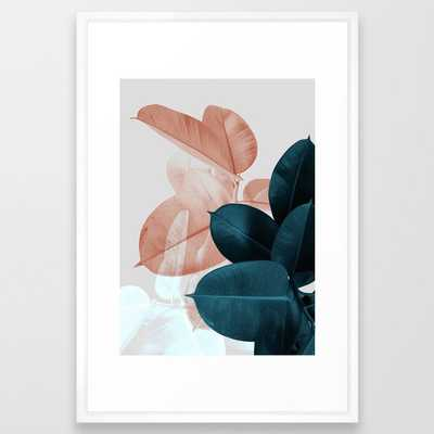 Blush & Blue Leaves Framed Art Print by Printsproject - Society6