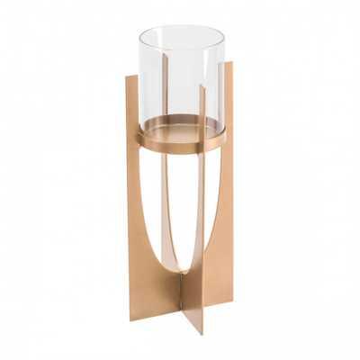 Equis Gold Candle Holder Sm Gold - Zuri Studios