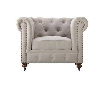 Gordon Natural Linen Arm Chair - Home Depot