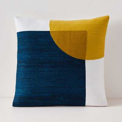 "Crewel Overlapping Shapes Pillow Cover, 18""x18"", Midnight - West Elm"