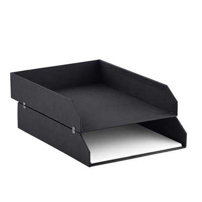 Bigso Graphite Stockholm Stackable Letter Trays Set of 2 - containerstore.com