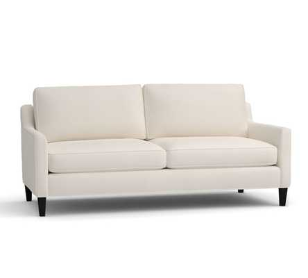 """Beverly Upholstered Sofa 80"""", Polyester Wrapped Cushions, Performance Everydaylinen(TM) by Crypton(R) Home Ivory - Pottery Barn"""