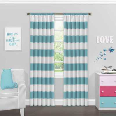 SolarShield® Bartlett 63-Inch Rod Pocket Room Darkening Window Curtain Panel in Teal - Bed Bath & Beyond