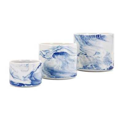 Willow Faux Marble Planters - Set of 3 - Mercer Collection