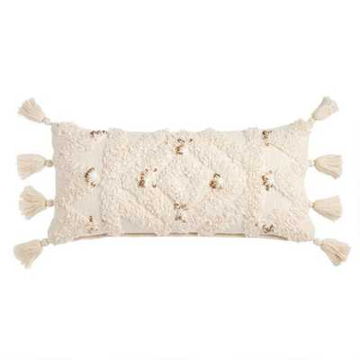 Ivory Moroccan Blanket Lumbar Pillow - World Market/Cost Plus