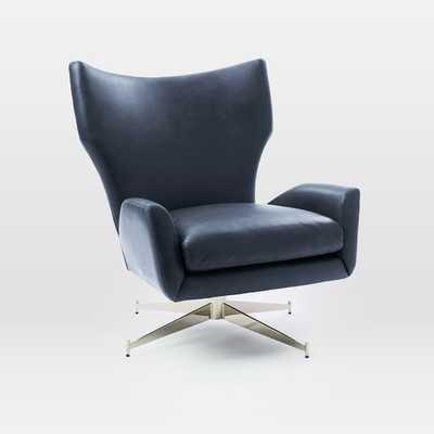 Hemming Aspen Leather Swivel Arm Chair, Aegean, Polished Nickel - West Elm