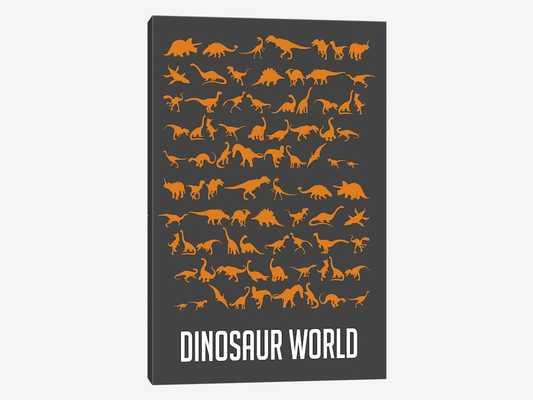 "'Dinosaur World II' Graphic Art Print on Canvas, 18""x12"" - Wayfair"