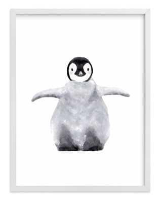 "Baby Animal Penguin, 8""x10"", White Wood Frame - Minted"