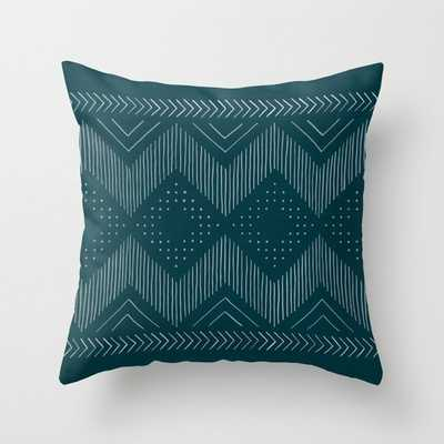 Teal Tribal Throw Pillow by michiko_design - Society6