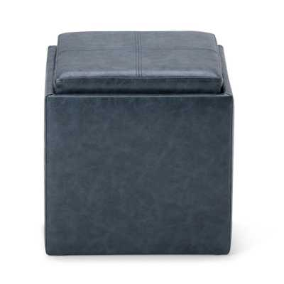 Rockwood 17 in. Contemporary Square Storage Ottoman in Denim Blue Faux Leather - Home Depot
