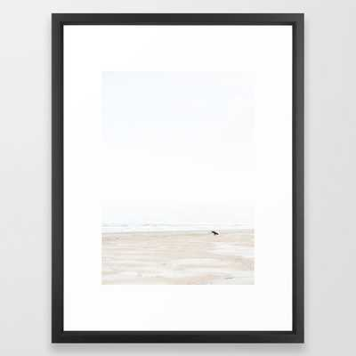 The lone surfer | fine art surf beach photography | Wanderlust at the ocean Framed Art Print - Society6