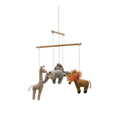 Wood and Fabric Safari Animal Mobile - Wayfair