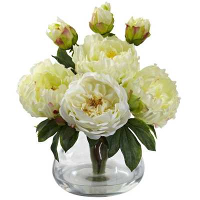 Peony and Rose with Vase - Home Depot