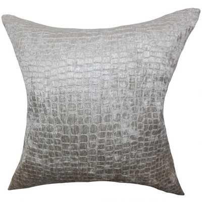 """Fiachra Solid Pillow Silver - 20"""" x 20"""" - Down Insert - Linen & Seam"""