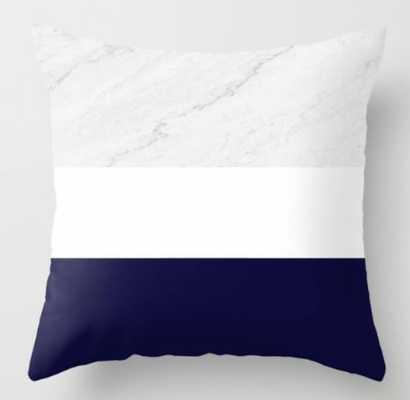 Marble White Royal Blue Throw Pillow - Society6