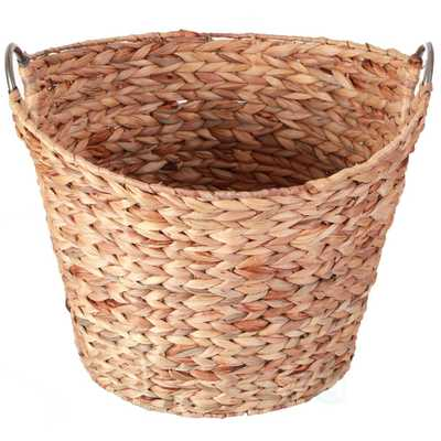 Large Round Water Hyacinth Wicker Laundry Basket - Home Depot
