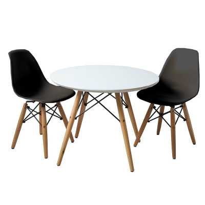 Harriet Bee Etzel Kids 3 piece Round Table and Chair Set: Black - Wayfair