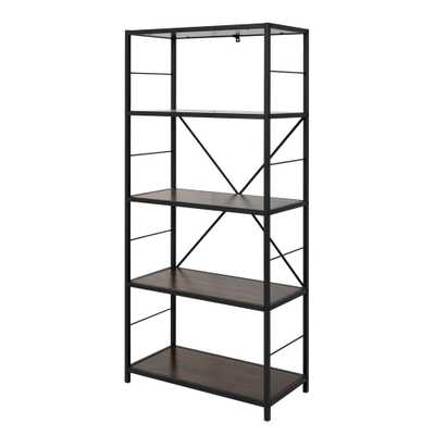 Dark Walnut Rustic Metal and Wood Media Bookshelf - Home Depot