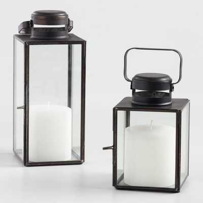 Burnt Antiqued Zinc Cargo Lantern, Small - World Market/Cost Plus