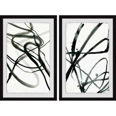 'Toxic Lines Diptych' - 2 Piece Picture Frame Print Set on Paper, Black/White - Wayfair