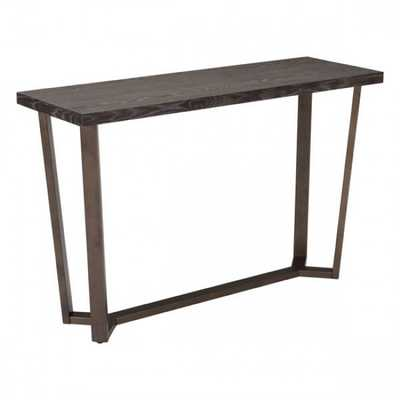 Brooklyn Console Table Gray Oak &A.Brass - Zuri Studios