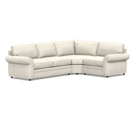 Pearce Roll Arm Leather 3-Piece L-Shaped Wedge Sectional, Down Blend Wrapped Cushions - Pottery Barn