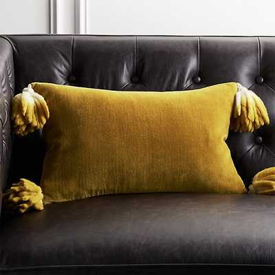 "18""x12"" Bia Tassel Mustard Velvet Pillow with Feather-Down Insert - CB2"